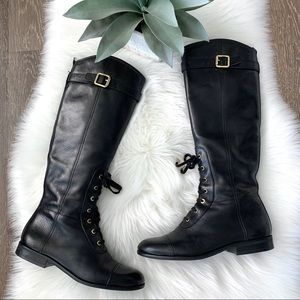 TORY BURCH Brent Paddock Lace Up Leather Boot 7.5